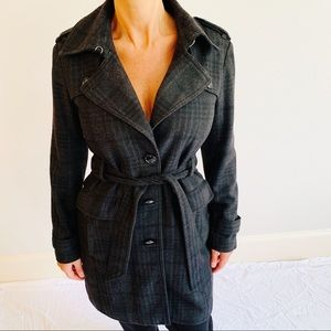 Banana Republic Plaid Wool Gray Coat